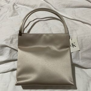 Calvin Klein taupe satin vintage handbag NWT perfect condition